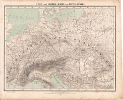 Közép - Európa hegy-, és vízrajzi térkép 1857, eredeti, Berghaus, német nyelvű, Magyarország, Alpok