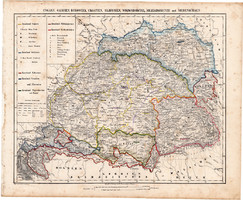 Magyarország térkép 1857, eredeti, Berghaus, német nyelvű, Erdély, Galícia, Bukovina, ÖSSZEFIRKÁLT!
