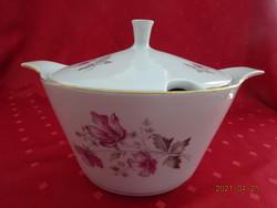 Alföldi porcelán leveses tál, lila virágos, legnagyobb átmérője 21 cm.
