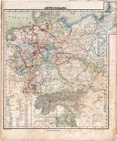 Németország térkép 1857, eredeti, Berghaus, német nyelvű, Európa, birodalom, szász, Hannover, állam