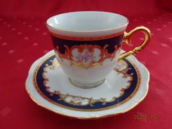 Csehszlovák porcelán antik kávéscsésze + alátét, Czecho márka.