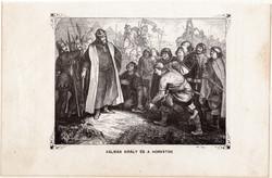 Kálmán király és a horvátok, metszet 1860, eredeti, fametszet, történelem, Geiger - féle kép, 1102