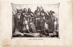 A hét vezér esküje, metszet 1860, eredeti, fametszet, történelem, Geiger - féle kép, Álmos