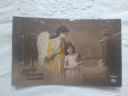 Antik, német, kézzel színezett fotólap/képeslap kislány/angyal, karácsony 1920