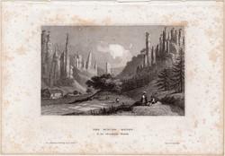 Der Bieler Grund, acélmetszet 1861, Meyers Universum, eredeti, 9 x 15 cm, metszet, Svájc, szász