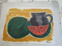 Naiv görögdinnyés csendélet HB, 2000