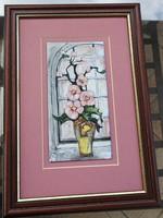 Fehér Margit  _  tűzzománc kép _  rózsaszín virágok - pink virágok