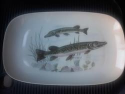 Halas retro porcelán tálca/halas szervirozo tálca/halas pecsenyés tálca