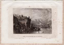 Irun, acélmetszet 1861, Meyers Universum, eredeti, 9 x 14 cm, metszet, Spanyolország, Bidassoa