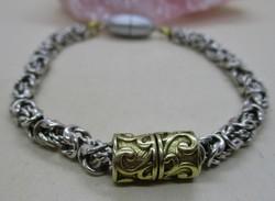 Gyönyörű régi ezüstkarkötő aranyozott résszel, mágneskapoccsal