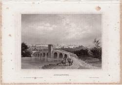 Adrianopel, acélmetszet 1861, Meyers Universum, eredeti, 10 x 15 cm, metszet, Edirne, Törökország