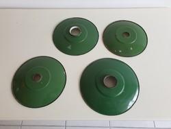 Régi vintage zöld zománcozott zománcos mennyezeti lámpa búra lámpabúra