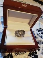 Eladó régi ezüst Pandora képtartós szív alakú cirkónia koves győnyőrű nagy méretű gyűrű!