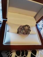 Eladó régi kézműves ezüst cirkónia köves orosz gyűrű!