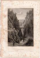 Via Mala, acélmetszet 1861, Meyers Universum, eredeti, 10 x 15 cm, metszet, Svájc, Viamala, szurdok
