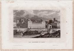 Párizs, városháza, acélmetszet 1861, Meyers Universum, eredeti, 9 x 14 cm, metszet, Franciaország