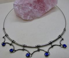 Szépséges  régi fém nyakék kék kövekkel