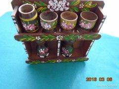 6 db Kézzel festett virágos fa fűszertartó  falipolcal