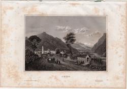 Chur, acélmetszet 1861, Meyers Universum, eredeti, 10 x 15 cm, metszet, Svájc, Rajna, Alpok, völgy