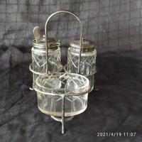 Antik angol EPNS fűszertartó csiszolt üvegekkel