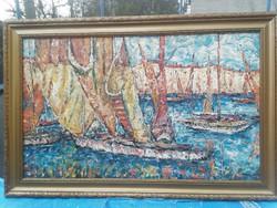 Vén Emil csodaszép képcsarnokos festmény nagyméretű!