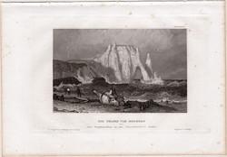 Etretat, acélmetszet 1861, Meyers Universum, eredeti, 9 x 14 cm, metszet, Franciaország, szikla