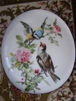"""Dísztál - falidísz Színesen festett, aranyozott porcelánfajansz. Jelzett """"Benedikt"""". 19,5 x 17 cm"""