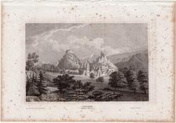 Sion, acélmetszet 1861, Meyers Universum, eredeti, 10 x 16 cm, metszet, Sitten, Svájc, Wallis