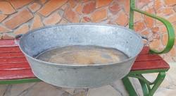 Bádog 2 fülű edény  nosztalgia darab, paraszti dekoráció, kertbe dísznek