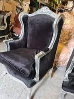 Ezüst füles fotel fekete huzattal