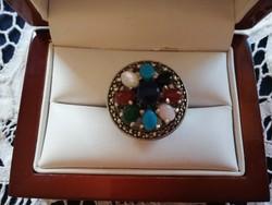 Eladó régi kézműves ezüst drágaköves gyűrű / türkiz, holdkő, karneol, kalcedon/!