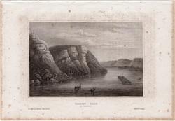 Maiden Rock, acélmetszet 1861, Meyers Universum, eredeti, 10 x 15 cm, metszet, Amerika, Mississippi