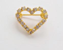 Aranyozott köves szív bross