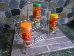Fűszertartó állvány asztali krómozott fém 2 szintes  25*21*10 cm új!