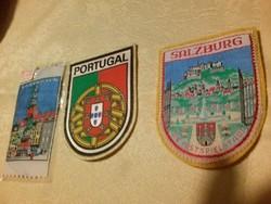 3 db felvarrható retró szuvenír címer: Koppenhága, Portugália, Salzburg