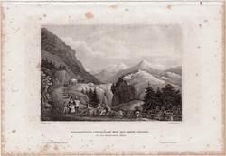 Hegyi erőd és Cenis út, acélmetszet 1861, Meyers Universum, eredeti, 10 x 14, metszet, Alpok, Savoia
