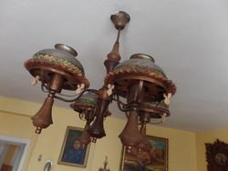 4 karú fa-réz csillár + falikar