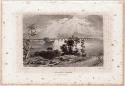 Columbia híd, acélmetszet 1861, Meyers Universum, eredeti, 10 x 15 cm, metszet, Amerika, Susquehanna