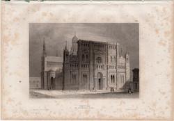 Pavia, acélmetszet 1861, Meyers Universum, eredeti, 10 x 14 cm, metszet, Olaszország, templom