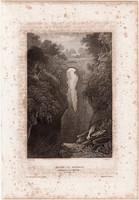 Pont - Y - Monach, acélmetszet 1861, Meyers Universum, eredeti, 10x14 cm, metszet, Wales, sátán, híd