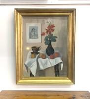 Mácsai István: Csendélet (olaj-vászon 80x60 cm, aranyozott keretben)