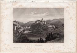 Elbogen, acélmetszet 1861, Meyers Universum, eredeti, 10 x 15 cm, metszet, Loket, Csehország, vár