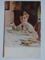 Régi, antik képeslap, Philipp von László:  Das Frühstück (1920-as évek)