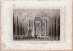 München, acélmetszet 1861, Meyers Universum, eredeti, 10 x 15 cm, metszet, Németország, Siegestor