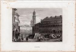 Padova, acélmetszet 1861, Meyers Universum, eredeti, 10 x 15 cm, metszet, Padua, Olaszország, tér