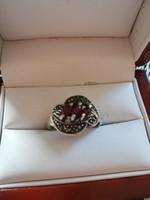 Eladó régi kézműves ezüst markazit köves nagy méretű gyűrű!