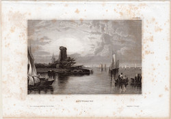 Antwerpen, acélmetszet 1861, Meyers Universum, eredeti, 10 x 15 cm, metszet, Belgium, kikötő, észak