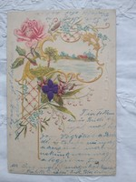 Antik/szecessziós dombornyomott litho/litográfiás rózsás képeslap/üdvözlőlap, tájkép, selyemvirág