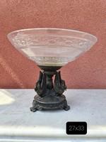 Empire hattyús bronz-üveg gyümölcstál-asztalközép-kínáló-center