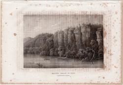 Bluffs below St. Paul, acélmetszet 1861, Meyers Universum, eredeti, 10 x 15 cm, metszet, Amerika